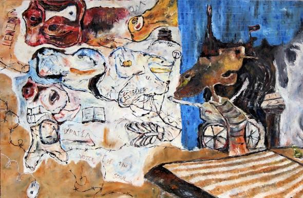 Las prédicas de Parabacon. 2017. óleo sobre lienzo.130 x 200cm.