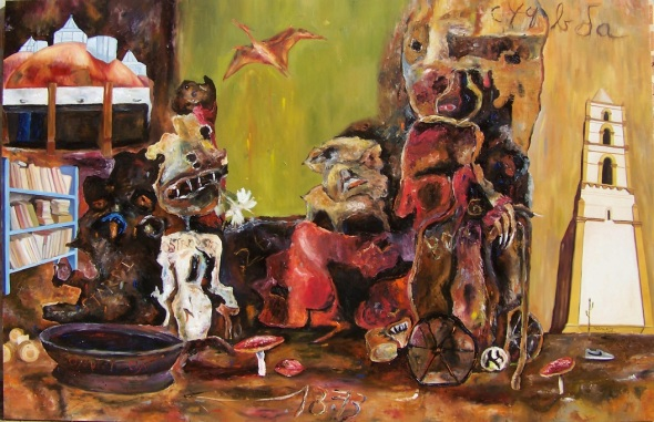 Los libros y las noches. 2018. óleo sobre lienzo.130x200cm.