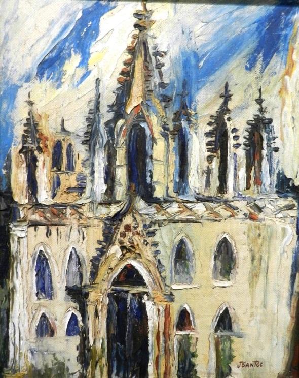 Autor Jorge Santos Díaz, 1922 a 1996. Título Iglesia. Técnica Óleo tabla. imensiones 65 x 60 cm. Año 1979