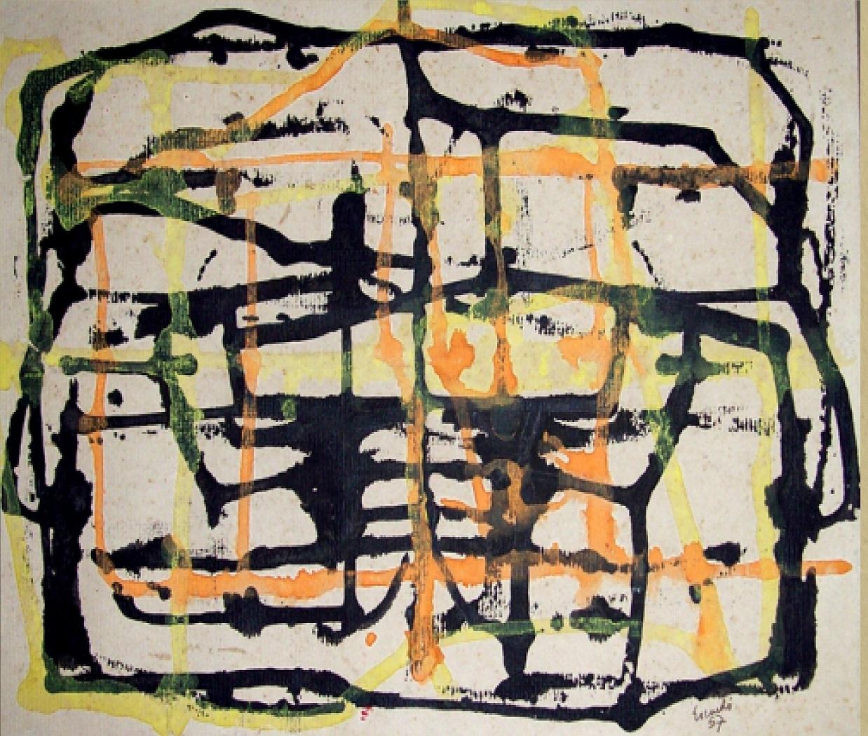 Sin título obra de Rolando Escardó . Tempera y cartulina, Dimensión  25 x 32,5 cm. Año 1957