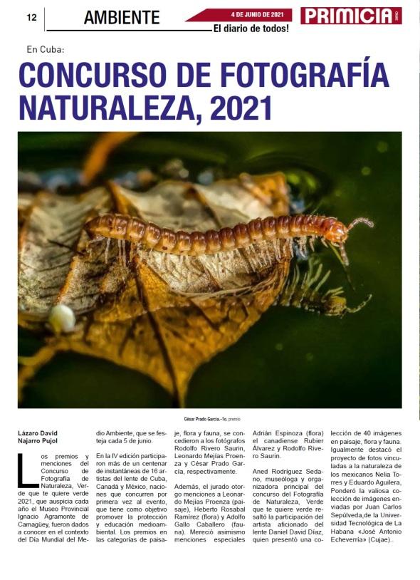 Revista colombiana destaca Concurso de Fotografía de Naturaleza realizado en Camagüey