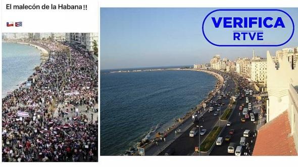 Imagen que muestra la foto del tuit y una instantánea de la avenida de Alejandría en la que se celebró la manifestación el 11 de febrero de 2011. Foto RTVE